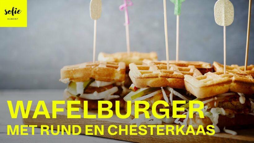 Wafelburger met rund en chesterkaas