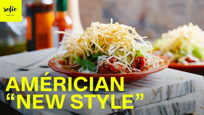 "Américain ""new style"" met frietjes, sla en zelfgemaakte mayonaise"