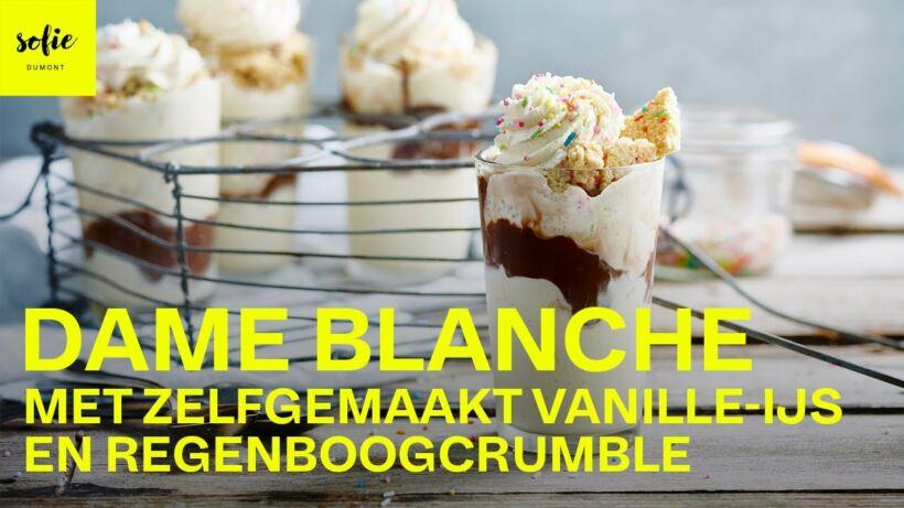 Dame blanche met zelfgemaakt vanille-ijs en regenboogcrumble
