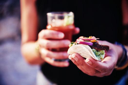 taco's met kraaibiefstuk en guacamole