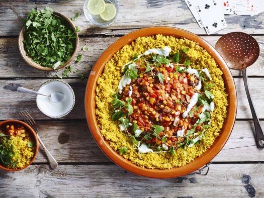chili sin carne met volkorencouscous