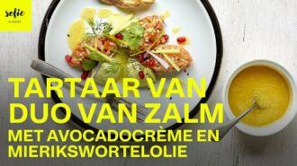 Tartaar van duo van zalm met avocadocrème en mierikswortelolie