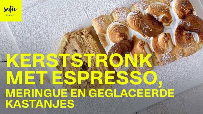Kerststronk met espresso, meringue en geglaceerde kastanjes