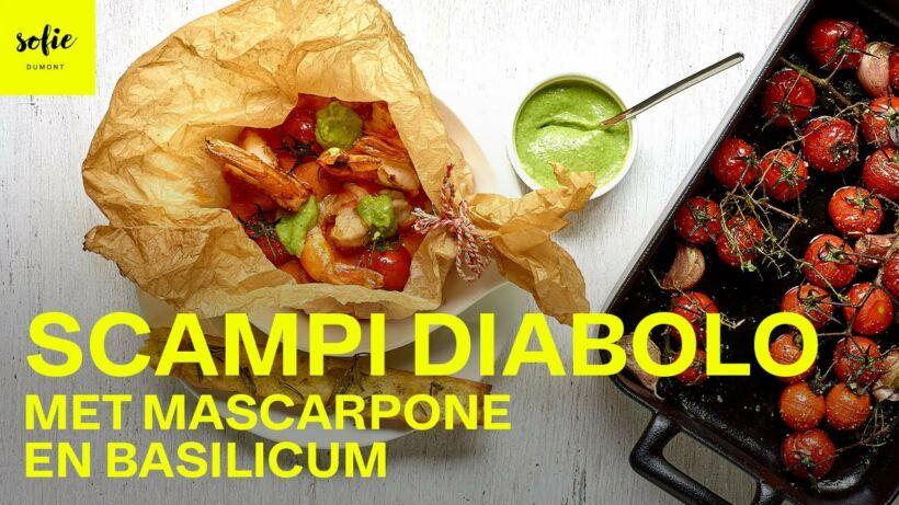 Scampi's diabolo met mascarpone en basilicum