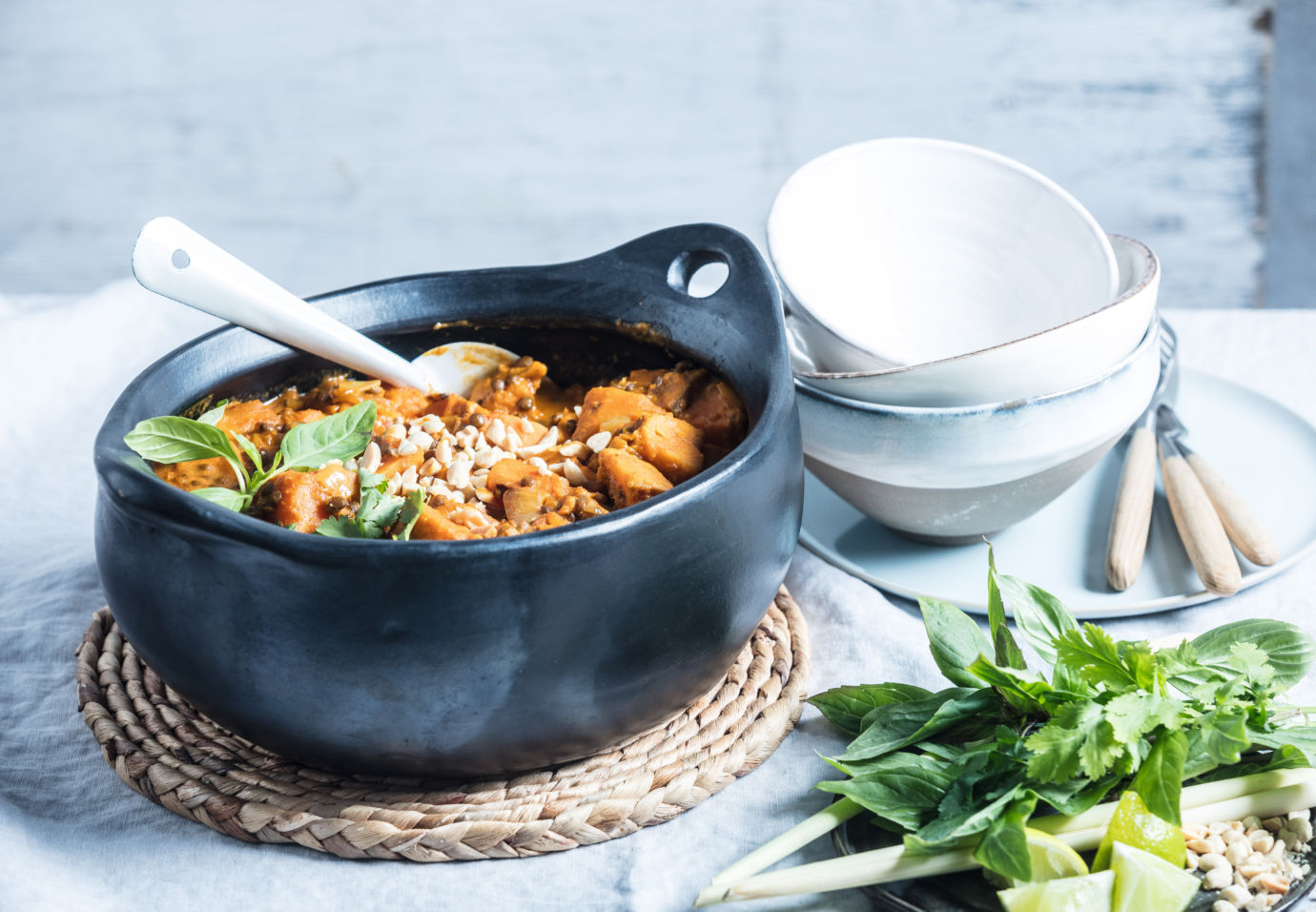 vegetarische rode curry van zoete aardappel en linzen