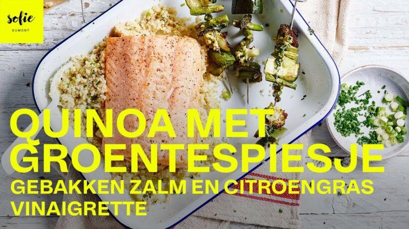 Quinoa met groentespiesjes, gebakken zalm en citroengras vinaigrette