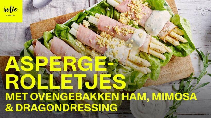 Aspergerolletjes met ovengebakken ham, mimosa en dragondressing