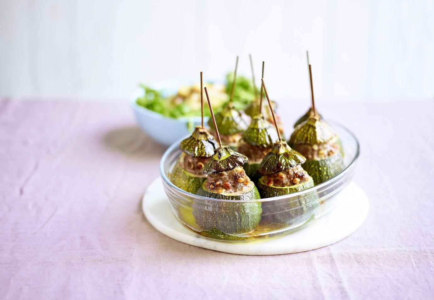 Sofie Dumont courgettes gevuld met lamsvlees, aardappelsla met waterkers