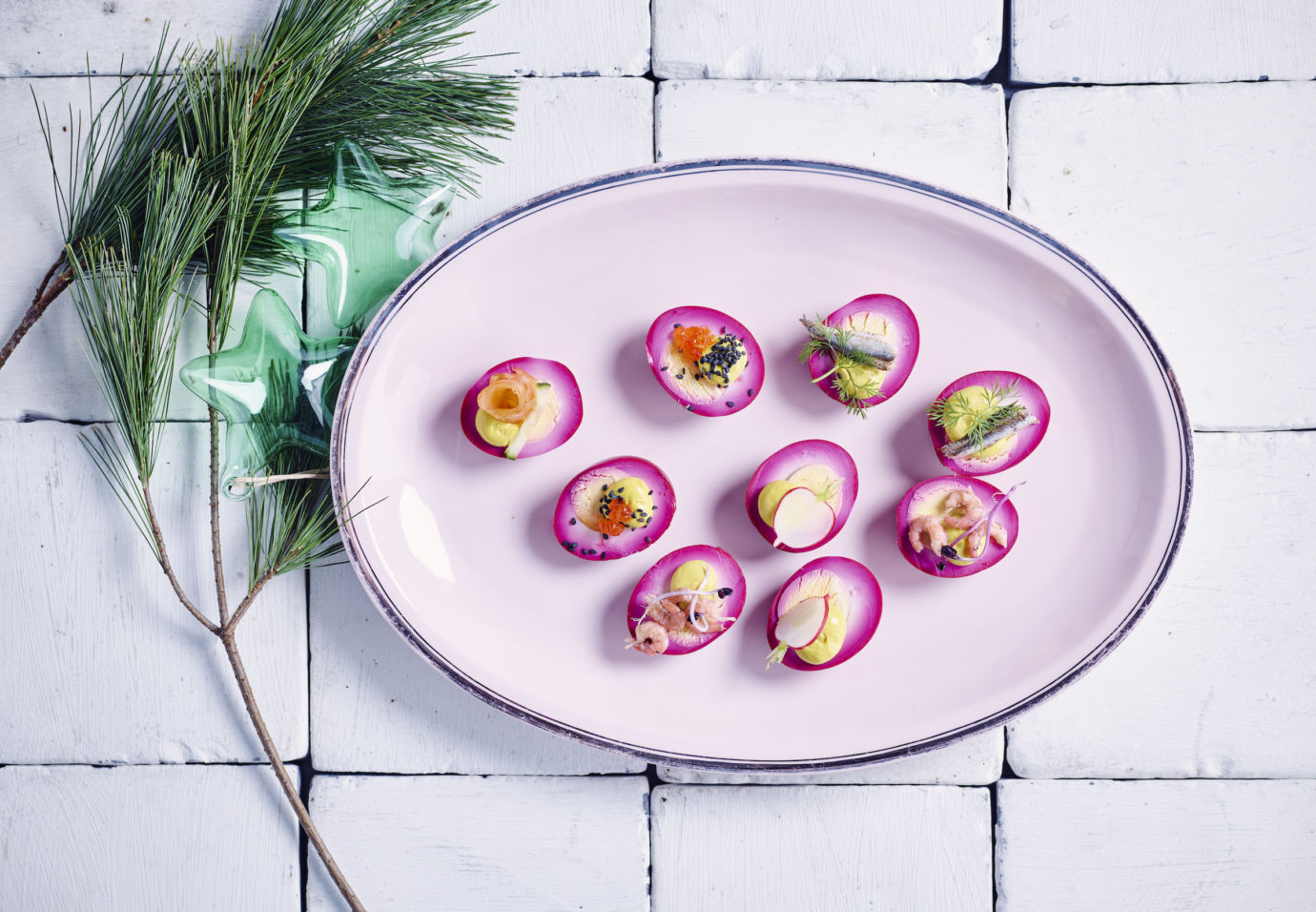 Pickled eggs met feest toppings door Sofie Dumont