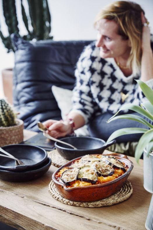 Mousakka met kalkoen en zoete aardappel
