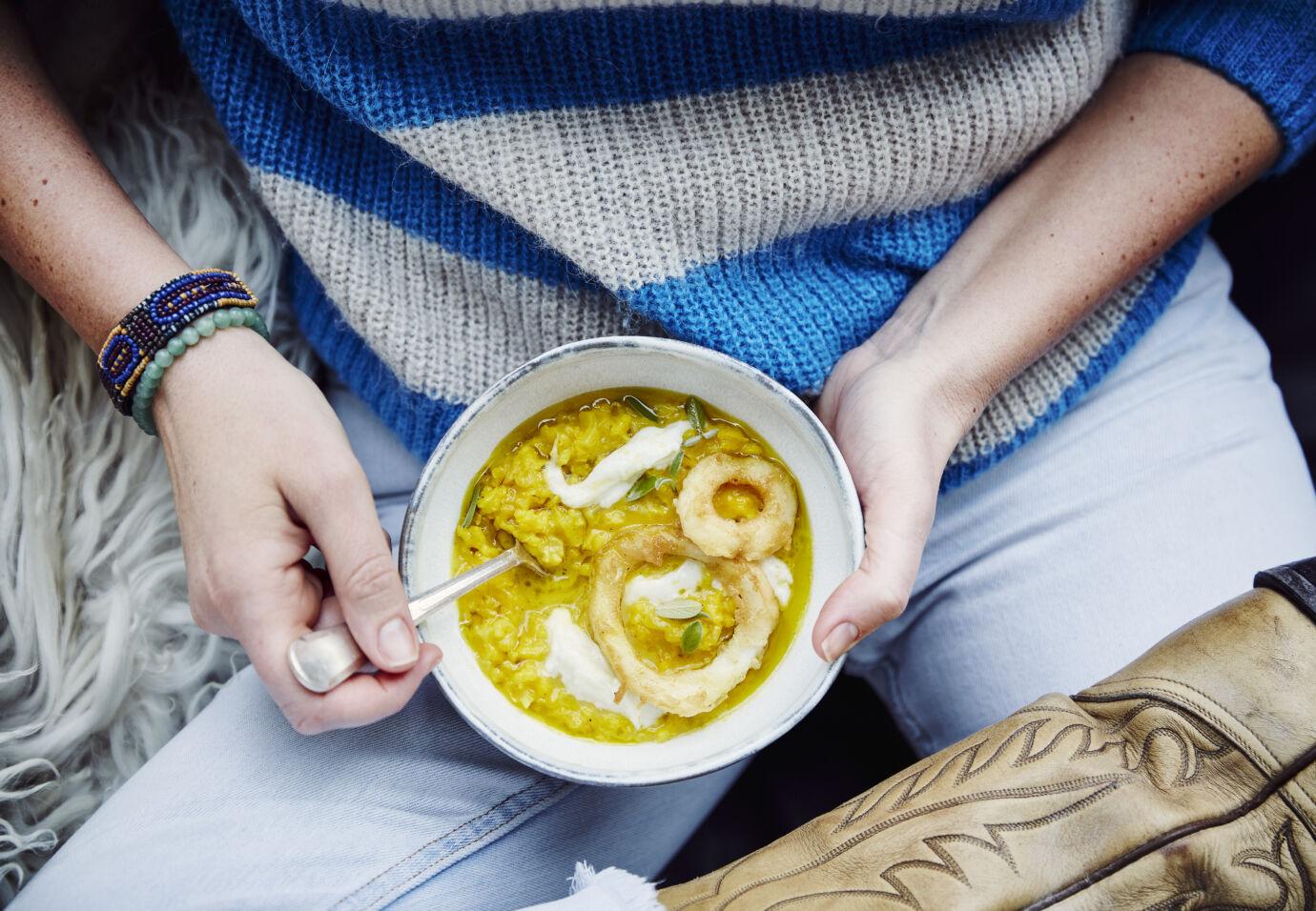 Saffraan risotto met inktvis en burrata