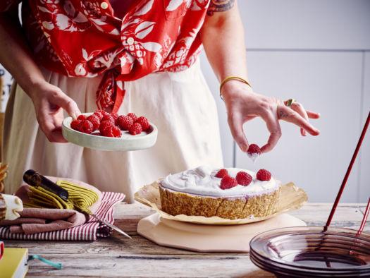 vegan cheesecake framboos en yoghurt