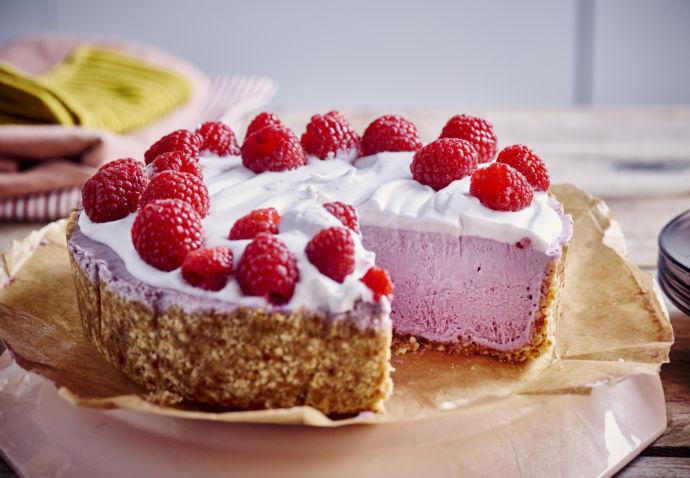 Vegan yoghyrt-framboos cheesecake