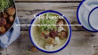 Witloof-koolsoep met ballekes en croutons