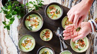 Groene gazpacho met feta