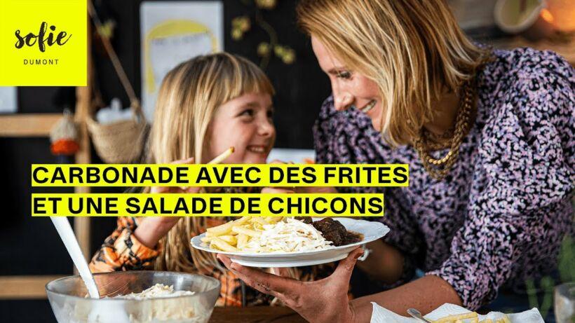 Carbonade avec des frites fraiches et une salade de chicons