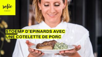 Stoemp d'épinards avec une cotelette de porc