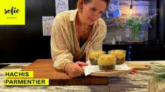 Hachis parmentier van varkensgehakt met bospaddenstoelen, puree van aardpeer en truffel