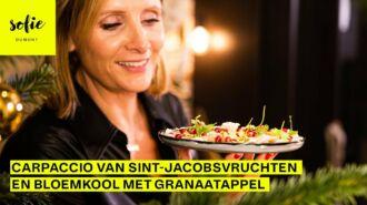 Carpaccio van Sint-Jacobsvruchten en bloemkool met granaatappel
