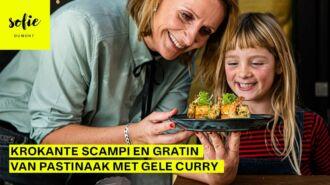 Krokante scampi en gratin van pastinaak met gele curry