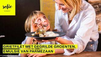 Grietfilet met gegrilde groenten, emulsie van Parmezaan