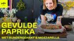 Gevulde paprika met rundergehakt en mozzarella