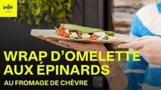 Wrap d'omelette aux épinards au fromage de chèvre
