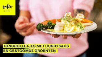 Tongrolletjes met currysaus en gestoomde groenten