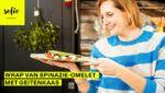 Wrap van spinazie-omelet met geitenkaas