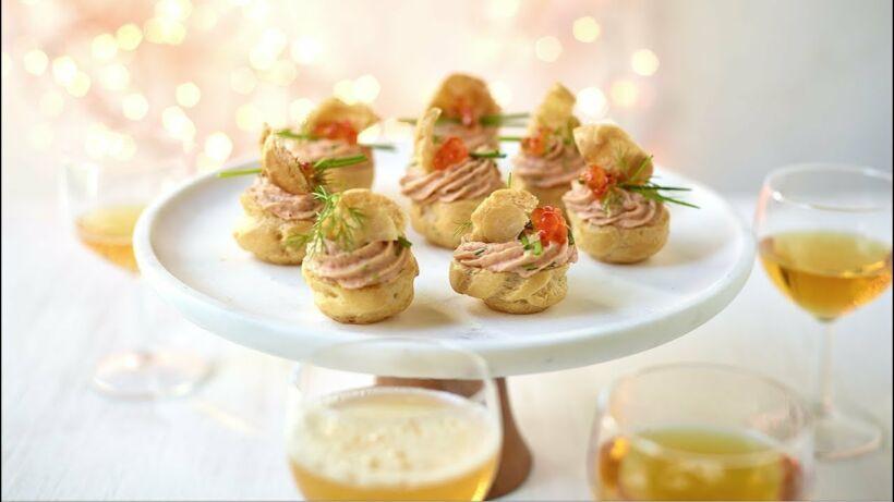 Soesjes met zalmmousse, butternutsoepjes en Margarita