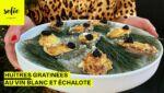 Huîtres gratinées au vin blanc et échalote
