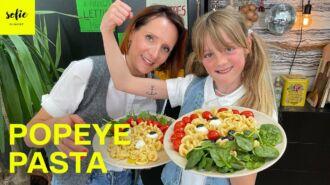 Spinazie met pasta en gepofte tomaatjes