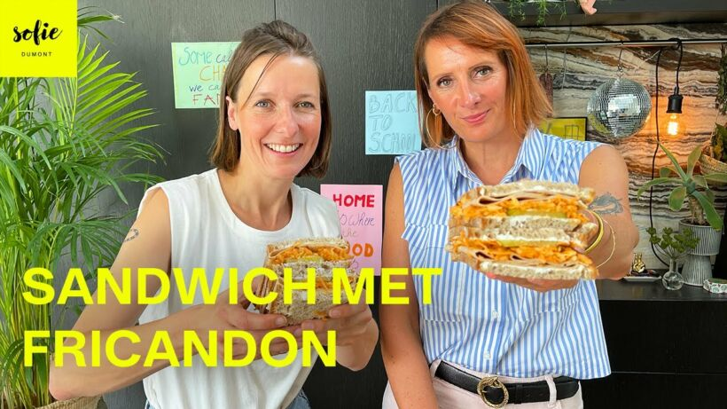 Sandwich met fricandon, wortelsalade en geitenkaas